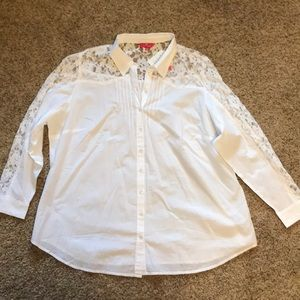 Together Pleated Lace Blouse Button Up Shirt